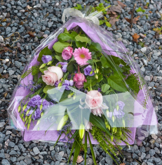 Pink & Purple Flowers in Cellophane
