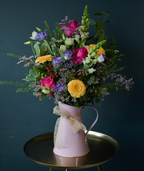 Jug of Seasonal Flowers