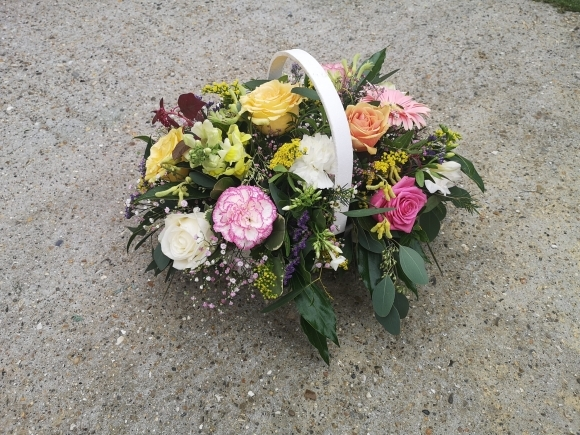 Mixed Flowers Funeral Basket
