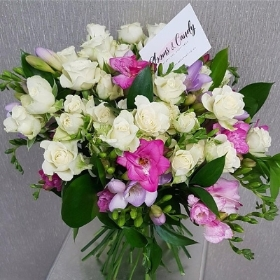 Sweet Roses And Freesias Hand Tied Bouquet
