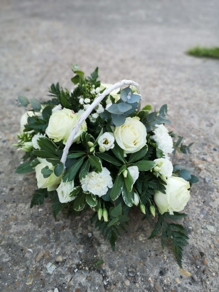 White Funeral Basket