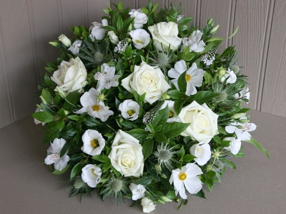 White funeral posy