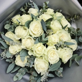 White Roses Hand Tied Bouquet